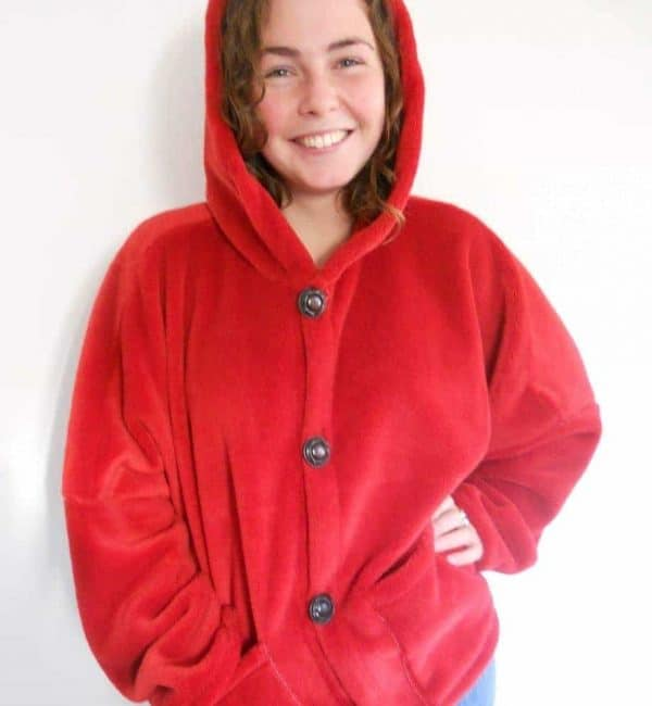 Ladies Hooded Fleece Coat